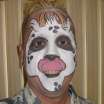 Mike painted his face to look like a cow